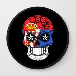 Sugar Skull with Roses and Flag of Serbia Wall Clock