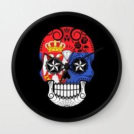 Sugar Skull with Roses and Flag of Serbia Wall Clock