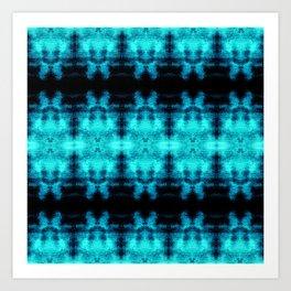 Turquoise Blue Black Diamond Gothic Pattern Art Print
