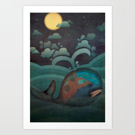Weary Whale Art Print