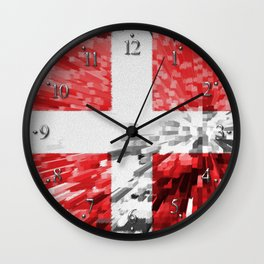 Extruded Flag of Denmark Wall Clock