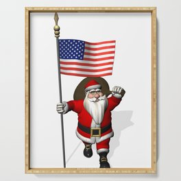Santa Claus With Stars And Stripes Serving Tray
