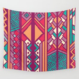 Tribal ethnic geometric pattern 001 Wall Tapestry