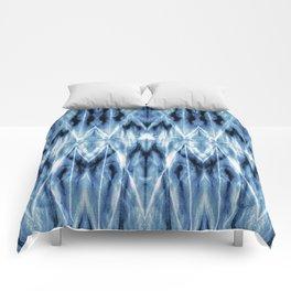 Blue Satin Shibori Argyle Comforters