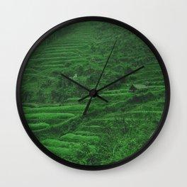 Green Rice Fields of Vietnam. Landscape Photography. Wall Clock