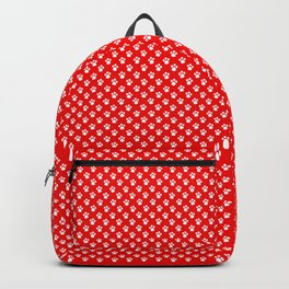 Tiny Paw Prints Pattern - Bright Red & White Backpack