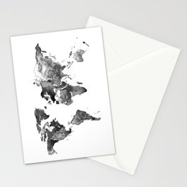 World map, Black and white world map Stationery Cards