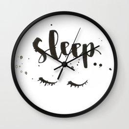 sleep calligraphy Wall Clock