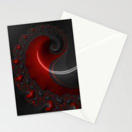 Black Red Goth Gothic Elegant Spiral Decorative Ornate Abstract Fractal Digital Graphic Art Design Stationery Cards
