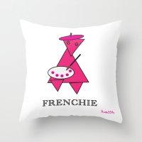 frenchie Throw Pillows featuring FRENCHIE by Tim Breitzmann