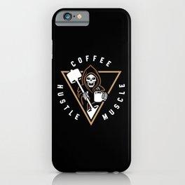 Coffee Hustle Muscle Grim Reaper iPhone Case