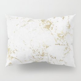 White and gold faux marble Pillow Sham