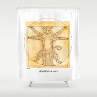 da vinci Shower Curtains featuring Leopardo da Vinci by Nanu Illustration