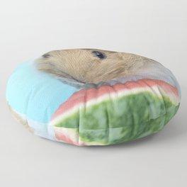 Little Guinea Pig eating a watermelon Floor Pillow