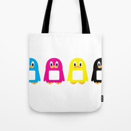 Four-Color Penguins Tote Bag
