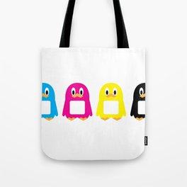 Four-Color Penguins Tote Bag