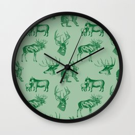 Woodland Critters in Green Wall Clock