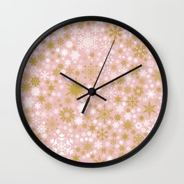 A Thousand Snowflakes in Rose Gold Wall Clock