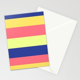 Modern rainbow neon colors color block stripes Stationery Cards