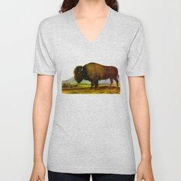Bison, or Buffalo Vintage Scientific Animal Illustration Unisex V-Neck