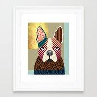 boston terrier Framed Art Prints featuring Boston Terrier  by Lanre Studio