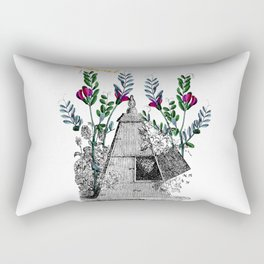 Vintage Beehive with Flowers Rectangular Pillow
