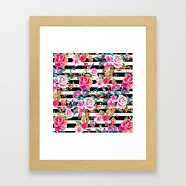 Cute spring floral and stripes watercolor pattern Framed Art Print