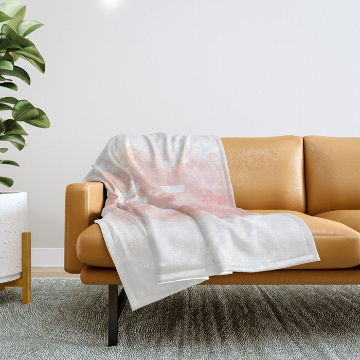 'Home Sweet Home' Typography Pinks Watercolour Throw Blanket