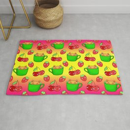 Cute happy funny Kawaii baby kittens sitting in little green espresso coffee cups, ripe yummy red summer cherries and strawberries fruity bright sunny yellow raspberry pink design. Rug