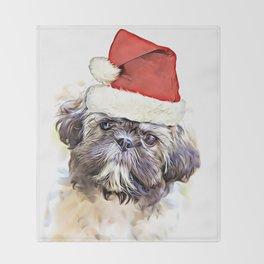 Christmas Shih Tzu puppy Throw Blanket