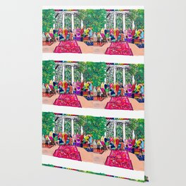 This is not a Party: Brightly colored painting of a group of people in a gigantic greenhouse with rugs and rainbow clothing Wallpaper