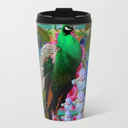 YELLOW-PUCE  PURPLE & PINK ROSES GREEN PEACOCK FLORAL Travel Mug