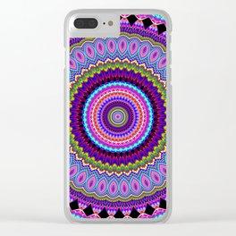 purple feathers Mandala Clear iPhone Case