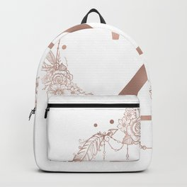Letter Z Rose Gold Pink Initial Monogram Backpack