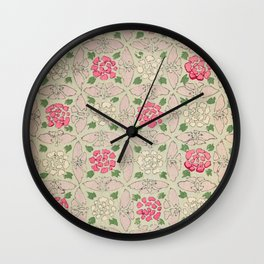 Vintage Pink and Sea Green Floral Pattern Wall Clock