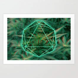 Trippy 3D geometric weed Art Print