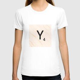 Scrabble Letter Y - Scrabble Art and Apparel T-shirt