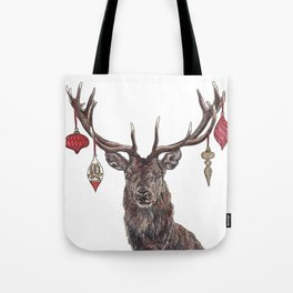 Stag with Baubles Tote Bag