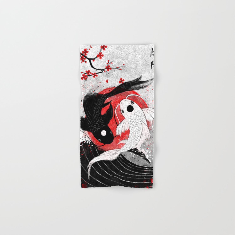 Koi Fish Yin Yang Hand Bath Towel By Rubyartwork Society6