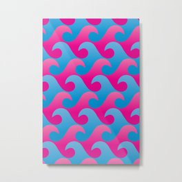 Abstract Blue and Pink Ocean Wave Seamless Surf Pattern Metal Print