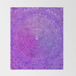 Mandala Flower in Violet Tones Throw Blanket