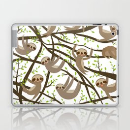 funny and cute smiling Three-toed sloth on green branch tree creeper Laptop & iPad Skin