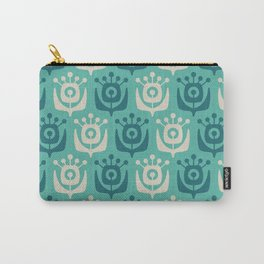 Mid Century Modern Retro Flower Pattern Turquoise and Teal 931 Carry-All Pouch