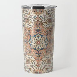 Fine Persia Tabriz Old Century Authentic Colorful Blue Rust Orange Vintage Patterns Travel Mug