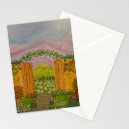Beyond The Gate Acrylic Painting by Rosie Foshee Stationery Cards