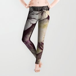 In The Year Of Our Lord: Wine (smiling lady with petunias) Leggings