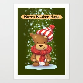 Christmas bear: Warm winter hugs Art Print