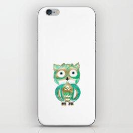 Owl Fun #4 #mint #green #gold #drawing #decor #art #society6 iPhone Skin