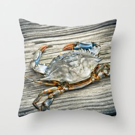 """""""Busted Peeler"""" - Maryland Blue Crab Throw Pillow"""