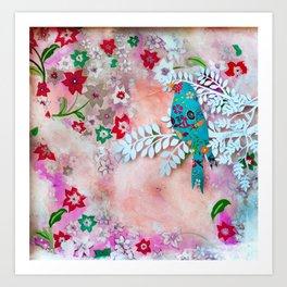 Little bird on branch Art Print